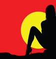 girl on sunset color vector image