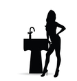 girl silhouette with sink vector image vector image