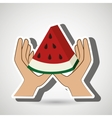 hand food vegan fruit vector image