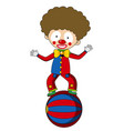 happy clown balancing on big ball vector image vector image