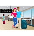 happy couple standing in an airport vector image vector image