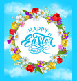 happy easter holiday flower wreath poster vector image vector image
