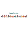 happy new year banner diverse culture people vector image
