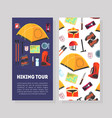 hiking tour card template with place for text and vector image vector image