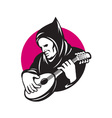 Hooded Man Playing Banjo vector image vector image