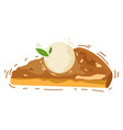 hot delicious piece of apple pie with vanilla ice vector image