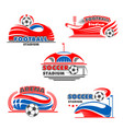 icons of soccer arena or football stadium vector image vector image