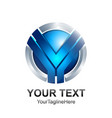 initial letter y logo template colored silver vector image vector image