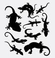 Lizard gecko reptile animal silhouette vector image vector image