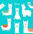 llama alpaca set face glassess childish baby vector image vector image