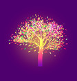 lonely autumn tree with bright foliage on a dark vector image vector image