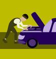 mechanic repairs car motor vector image vector image