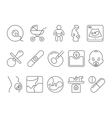 Medicine pregnancy motherhood line icons vector image