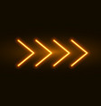 neon arrow sign light arrow retro glow vector image