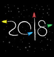 new year 2018 concept - cartoon rockets in space vector image vector image