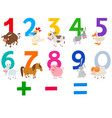 numbers set with happy farm animals vector image vector image