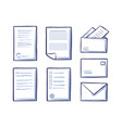 office papers envelopes and folders isolated icons vector image