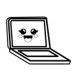 pc laptop cartoon smiley vector image vector image