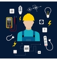 Professional electrician with electric tools and vector image vector image