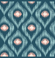 retro ikat blue with pink pattern vector image