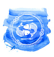 Seafood restaurant emblem with fish vector image
