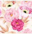 seamless pattern with eustoma and ranunculus vector image