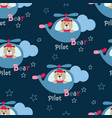 seamless pattern with pilot bears vector image