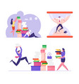 set busy employees loaded with hard work in office vector image vector image