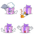 set of gift character with chef trumpet surprised vector image vector image