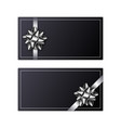 set of greeting card with silver ribbon and bow vector image vector image