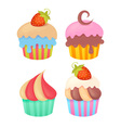 Set of tasty colorful muffins vector image vector image