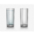 set realistic glasses with water and empty vector image vector image