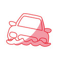 silhouette flooded car for danger weather vector image vector image