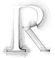 Sketch font Letter R vector image vector image