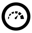 speedometer icon black color in circle round vector image vector image