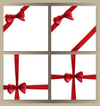square template set with red bow and ribbon vector image vector image