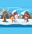 two kids playing with the snowman vector image vector image