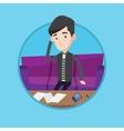 Unhappy caucasian man accounting home bills vector image vector image