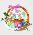 wicker basket with set colorful eastern eggs vector image