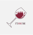 wine glass logo wine time concept on white vector image vector image