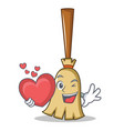 With heart broom character cartoon style