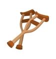 Wooden crutches cartoon icon vector image