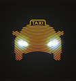yellow taxi silhouette by concentric circles with vector image vector image