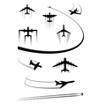 Black icons of airplanes and cargo planes vector image