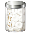 A container with cotton balls and cotton buds vector image