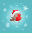 a cute cartoon bullfinch new year s and vector image vector image