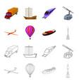 a drone a glider a balloon a transportation vector image