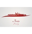 Aosta skyline in red vector image vector image