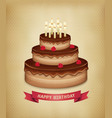 background with birthday chocolate cake vector image