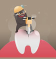 bad monster is digging and damaging tooth vector image vector image